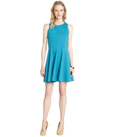 Rebecca Taylor turquoise ponte fit and flare dress