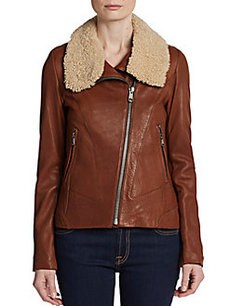 Andrew Marc Sarah Shearling Collar Leather Jacket
