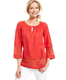 Charter Club Three-Quarter-Sleeve Crochet Tunic