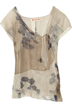 Marni Printed silk-chiffon top