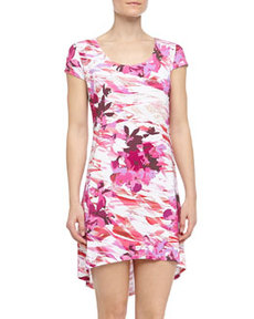 Cosabella Anna Geometric Floral Print High-Low Chemise, Irish/Shell Pink