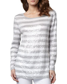 Joan Vass Sequined Striped Tunic, Women's
