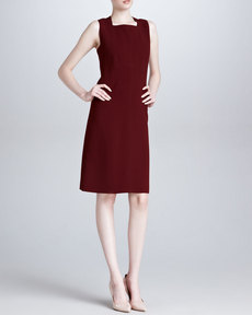 Derek Lam Sleeveless Square-Neck Dress, Bordeaux