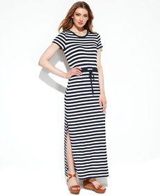 MICHAEL Michael Kors Petite Short-Sleeve Striped Maxi Dress