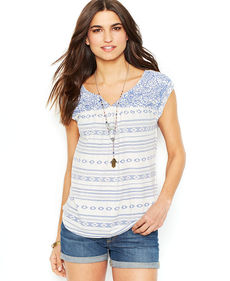 Lucky Brand Santorini Embroidered Top