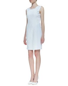 Sleeveless Croc Jacquard Gramercy Dress, White   Sleeveless Croc Jacquard Gramercy Dress, White