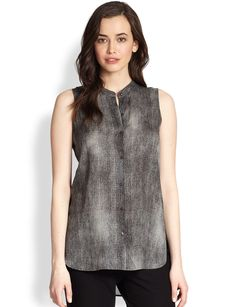 Eileen Fisher Mandarin-Collar Silk Top