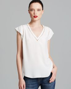Rebecca Taylor Top - Embroidered Circles