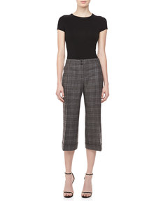 Michael Kors Lyndon Plaid Gaucho Pants, Banker