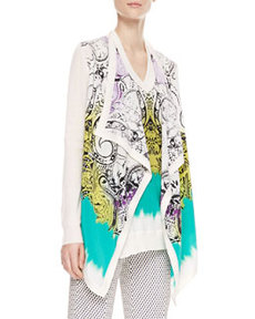 Printed Silk-Front Top, White/Green   Printed Silk-Front Top, White/Green