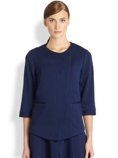 Saks Fifth Avenue Collection Ponte Asymmetrical Jacket