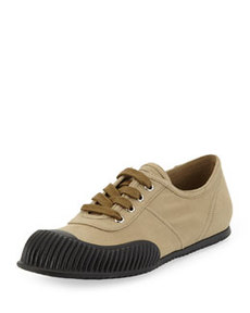 Gabardine Lace-Up Sneaker, Brown   Gabardine Lace-Up Sneaker, Brown