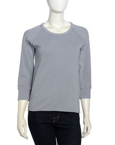 James Perse Three-Quarter Sleeve Raw Edge Raglan Sweatshirt, Breeze