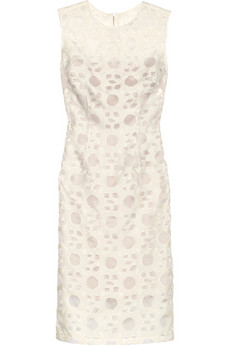Lela Rose Patterned woven and organza dress