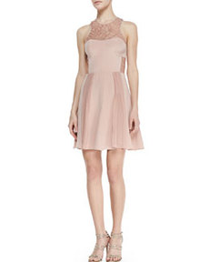 Lace-Inset Pleated Cocktail Dress   Lace-Inset Pleated Cocktail Dress
