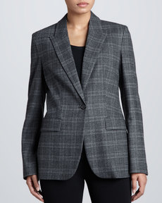 Michael Kors Lynden Flannel One-Button Blazer