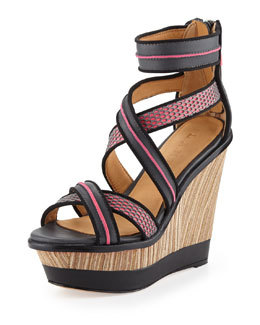 L.A.M.B. Carerra Leather and Mesh Wedge Sandal, Gray/Pink