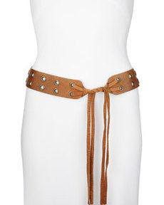 Double-Grommet Leather Tie Hip Belt   Double-Grommet Leather Tie Hip Belt