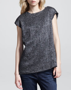 Brunello Cucinelli Cap-Sleeve Metallic Ribbon Pullover