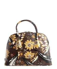 Prada coffee and yellow floral motif top handle bag