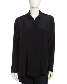 Paper Denim & Cloth Oversized Silk Blouse, Black
