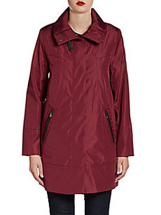 MARC NEW YORK by ANDREW MARC Faux Leather-Trim A-Line Coat