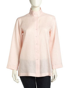 Go Silk Long-Sleeve Funnel Flowy Linen Tunic, Soft Pink