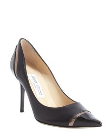 Jimmy Choo black and pewter leather cap toe 'Lilo' pumps