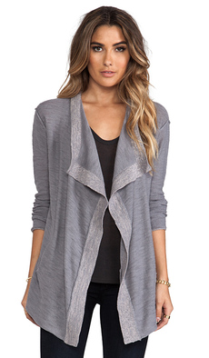 Michael Stars Slub Cotton Long Sleeve Cascade Cardigan in Gray