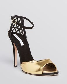 DIANE von FURSTENBERG Platform Evening Sandals - Rowan High Heel