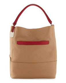 Furla Laila Medium Colorblock Hobo, Camel/Cherry