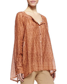 Printed Henna Blouse with Round Neck   Printed Henna Blouse with Round Neck
