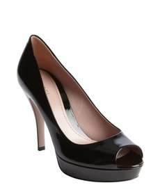 Gucci black patent leather peep toe platform pumps