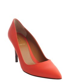 Fendi bright coral leather pointed toe pumps