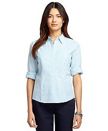 Fitted Three-Quarter Sleeve Seersucker Dress Shirt