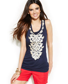 INC International Concepts Petite Embroidered Sleeveless Top