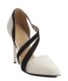 L.A.M.B. white and black snake embossed leather and suede 'Lynn II' pumps