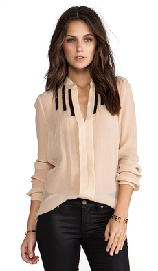 Tracy Reese Soft Solids Inset Shirt in Peach