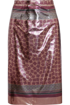Burberry Prorsum Printed lamé pencil skirt