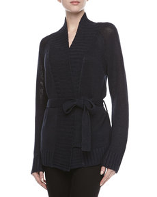 Michael Kors Tie-Waist Knit Cardigan, Midnight