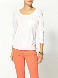 Splendid Very Light Jersey Long Sleeve Pocket Tee