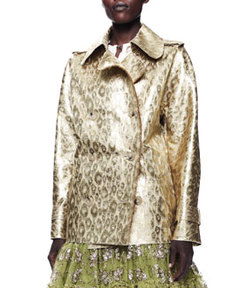 Lanvin Metallic Leopard Jacket, Gold