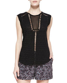 Rebecca Taylor Geo Clip-Brocade Sleeveless Top