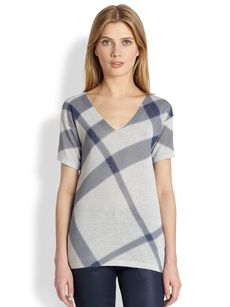 Burberry Brit V-Neck Check Top
