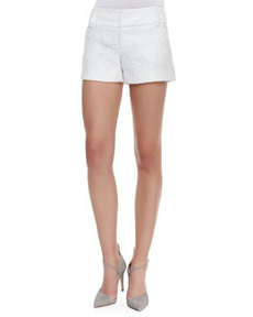 Alice + Olivia Cady Tweed No-Cuff Shorts, White