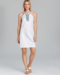 Laundry by Shelli Segal Dress - Sleeveless Embroidered Tonal Floral Jacquard