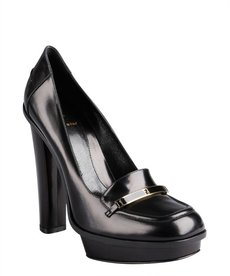 Fendi black leather logo platform loafers
