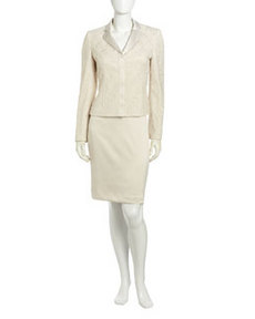 Albert Nipon Ivory Lace Sateen Skirt Suit, Ivory