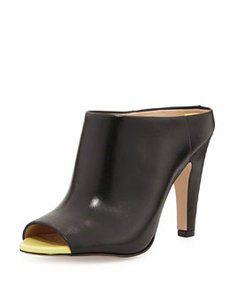 French Connection Randy Neon Leather Mule, Black