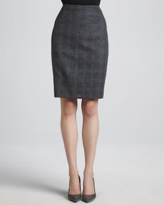 Escada Cutout-Flannel Pencil Skirt, Anthracite